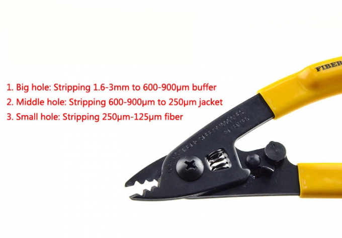 FTTH Three Hole Fiber Optic Tools 150mm Length Yellow Cable Sheath Stripper